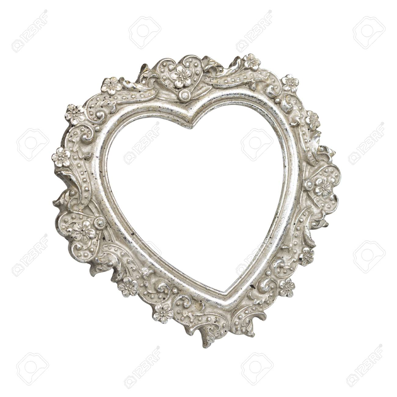 Old Silver Heart Picture Frame Isolated On White With Clipping ...