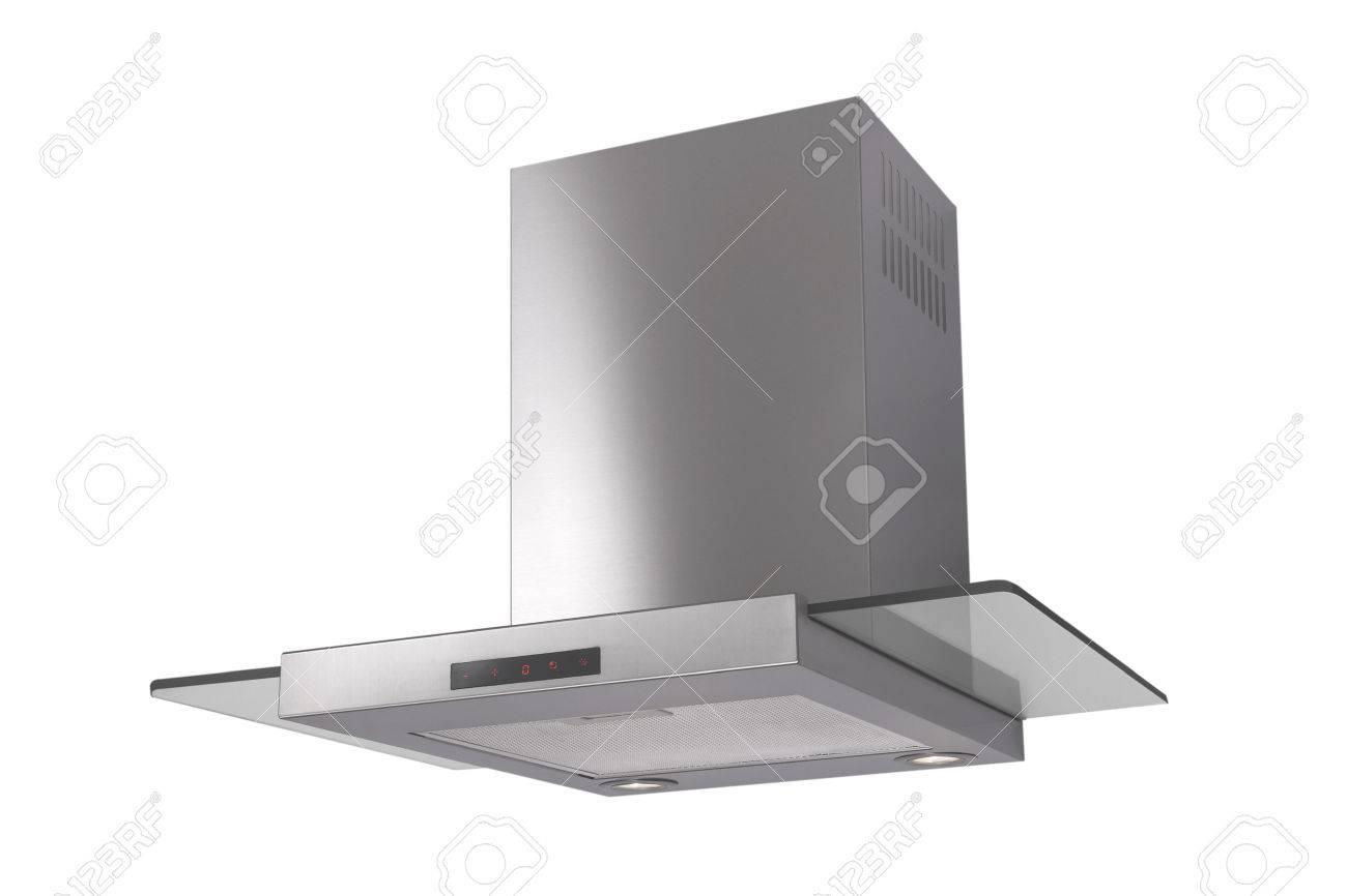 Moderne inox dunstabzugshaube isoliert auf weiß lizenzfreie fotos