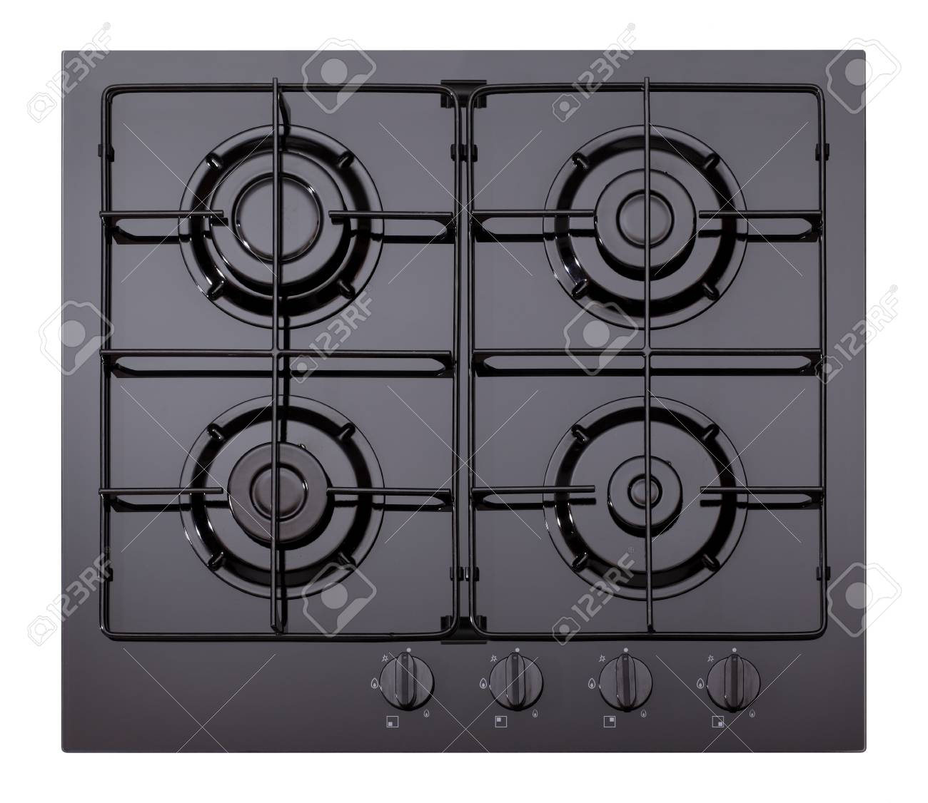 Black Glass Gas Hob Isolated On White Stock Photo, Picture And ...
