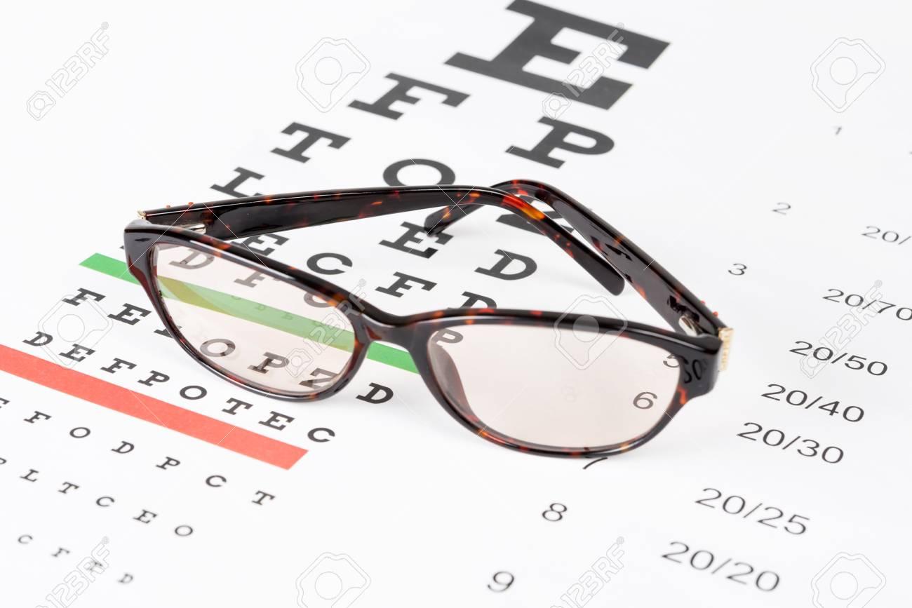 Prescription sunglasses on the eye chart background. Stock Photo - 31875362