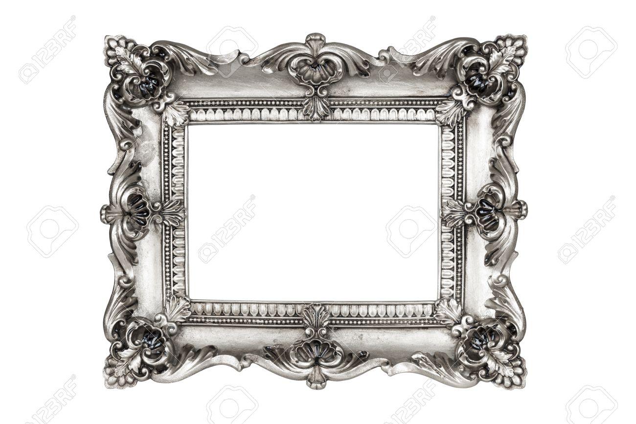 Alte Antike Silberne Bilderrahmen. Isoliert Auf Weißem Hintergrund ...