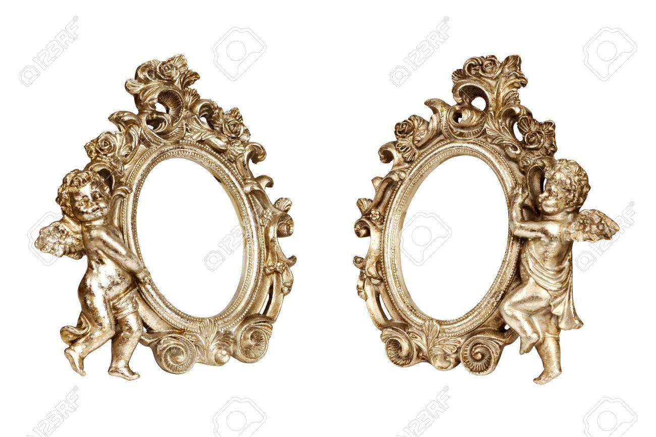 Conjunto De óvalo Barroca Imagen De Oro Marcos Con Cupido Aislado En ...