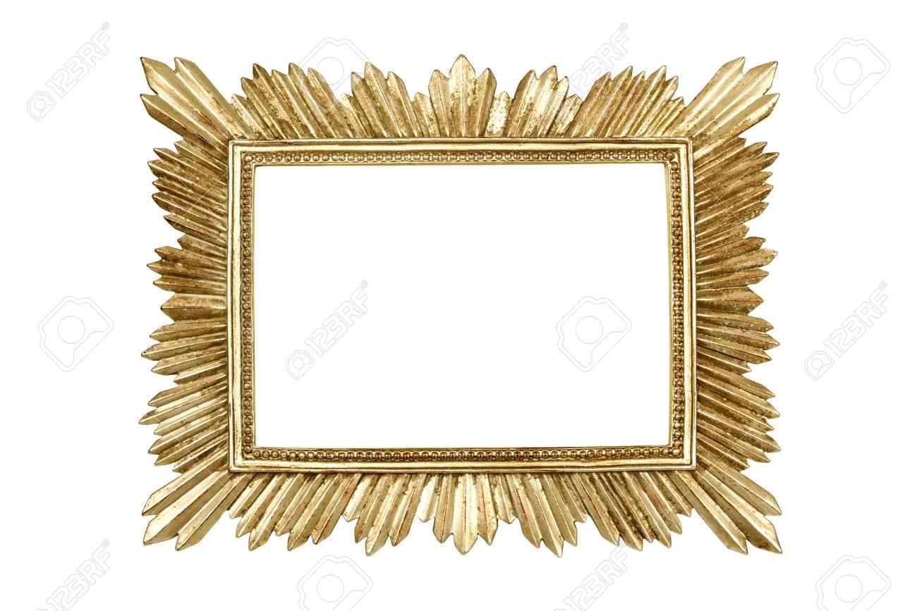 Goldener Bilderrahmen Isoliert Auf Weißem Hintergrund Mit ...