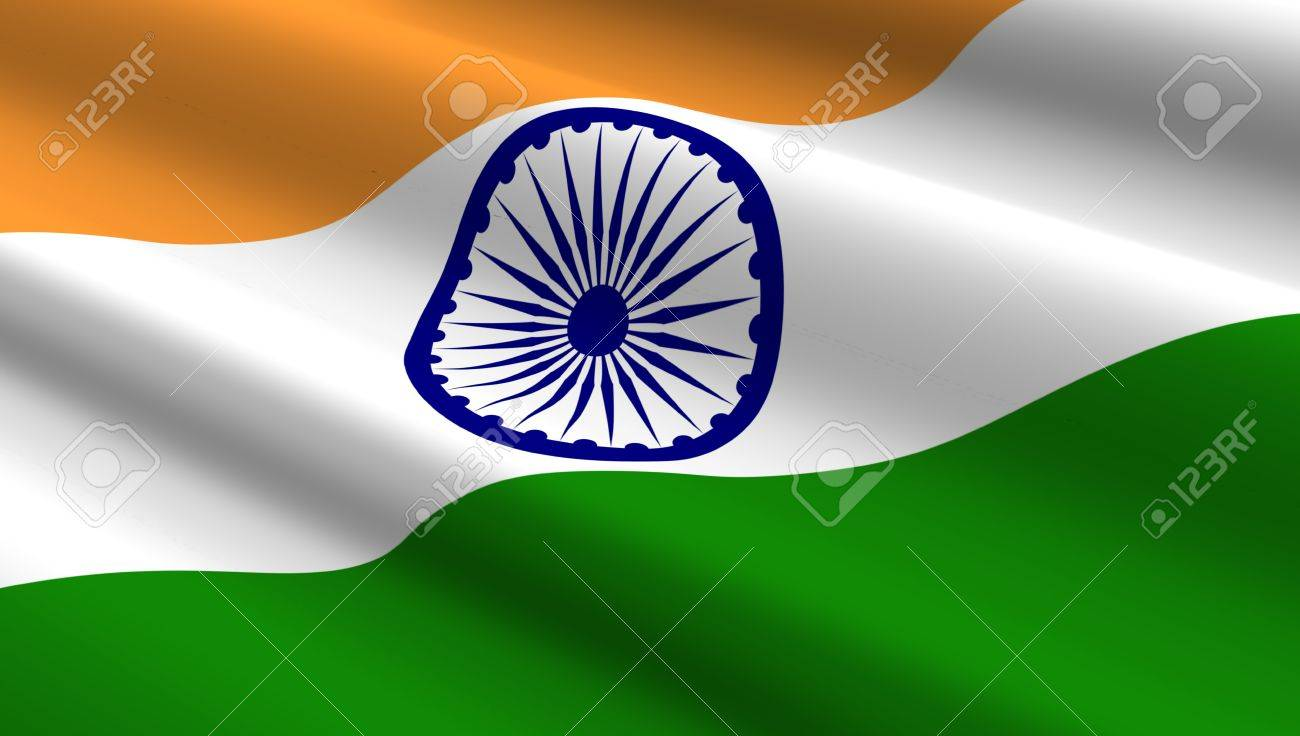 Indian Flag Background Computer Generated 3D Photo Rendering Stock