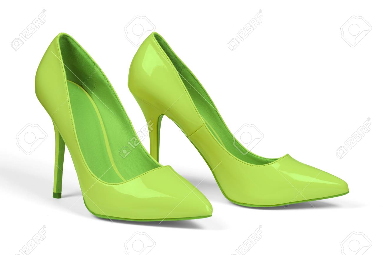 finest selection 2fe24 89356 Banque d images - Une paire de chaussures à talons pour femmes vertes isolé  sur blanc avec un tracé de détourage.