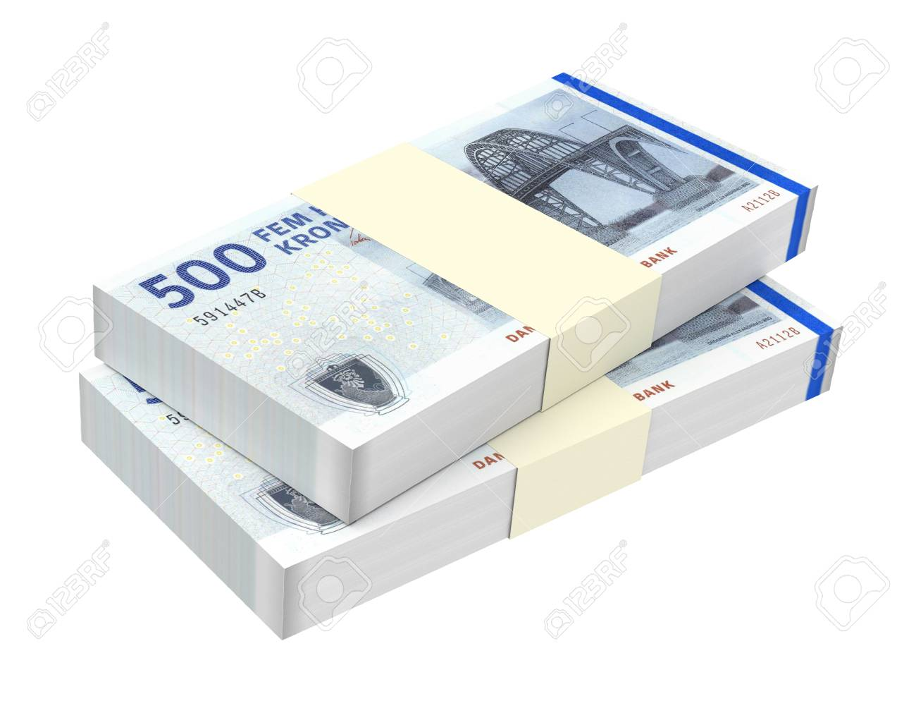 Danish krone isolated on white background Computer generated 3D photo rendering - 50163106