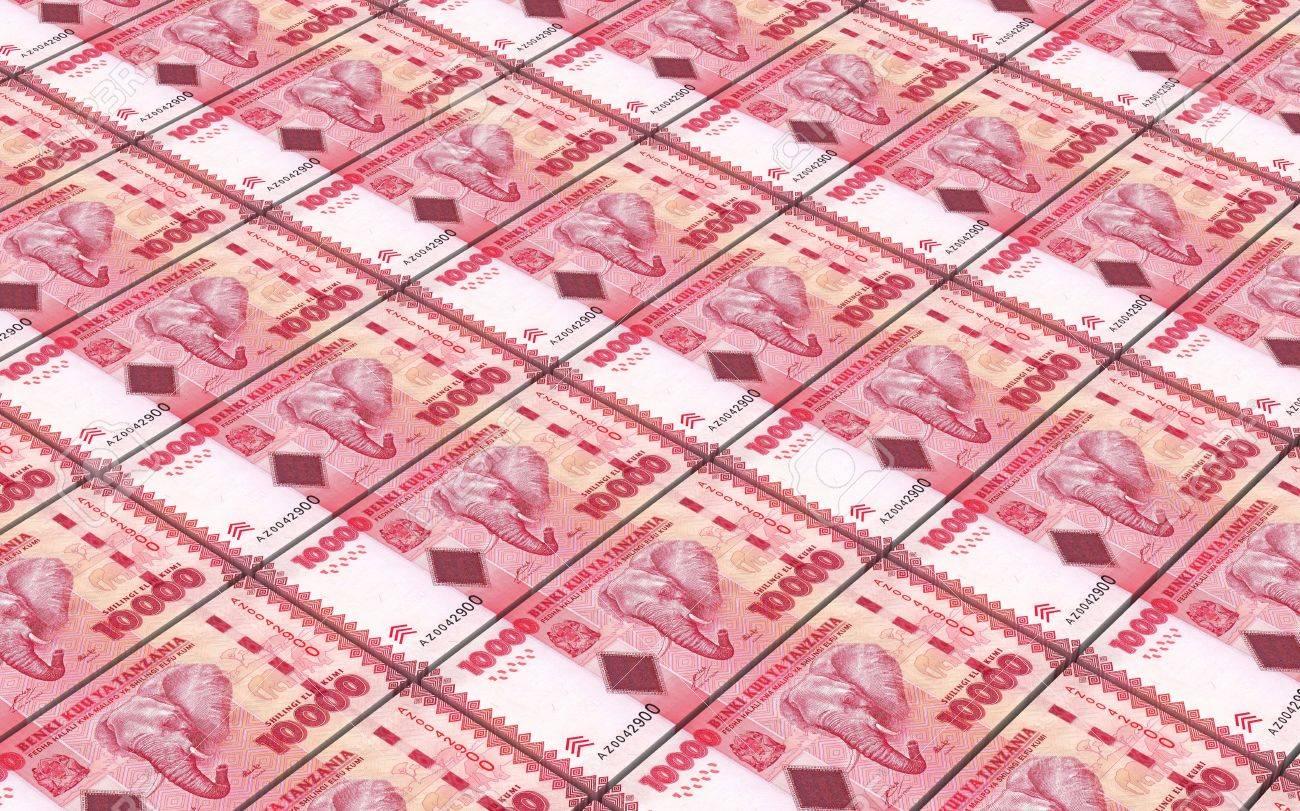 Tanzanian Shilling Bills Stacked Background. Computer Generated ...