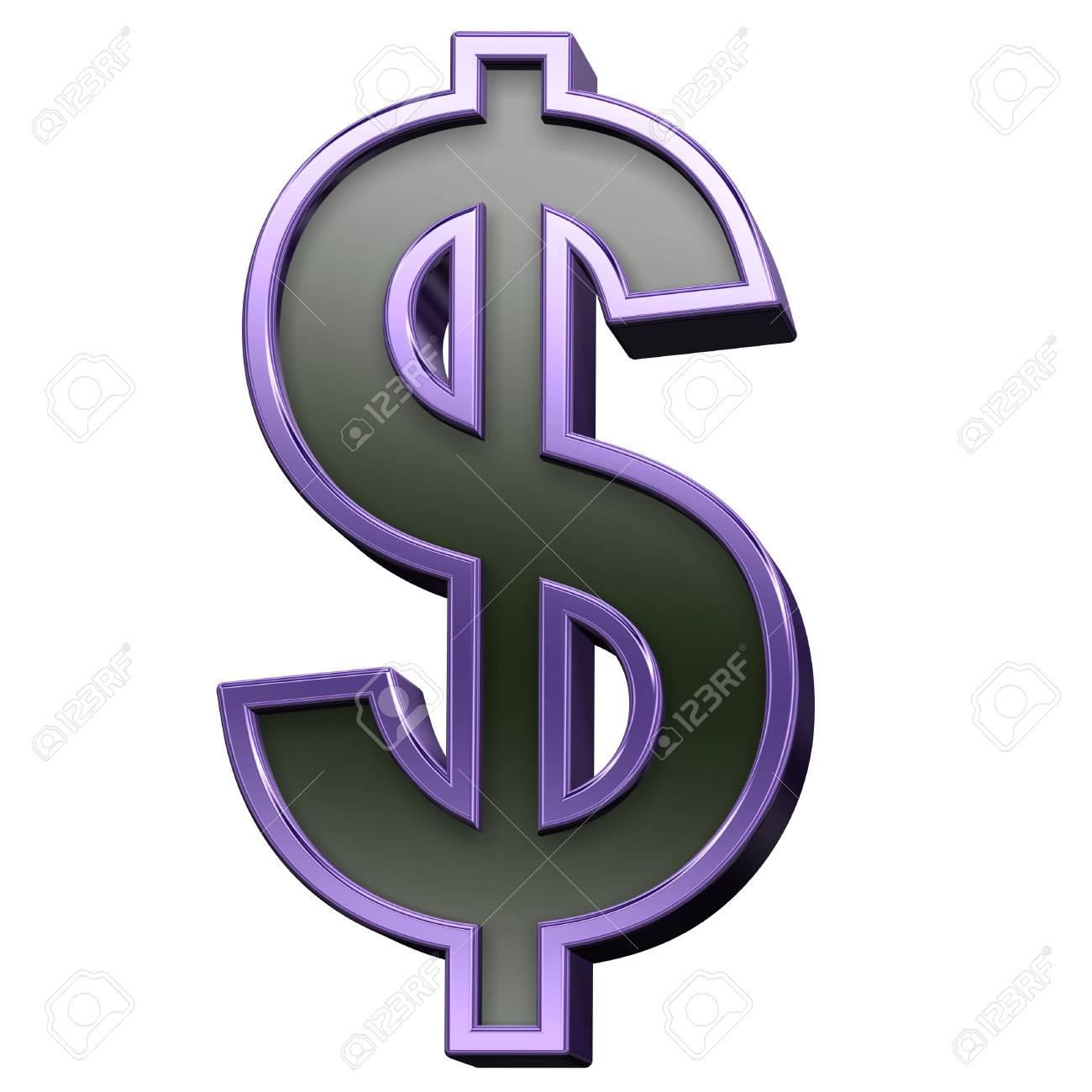Signo De Dólar De Negro Violeta Con El Sistema Alfabético Marco ...
