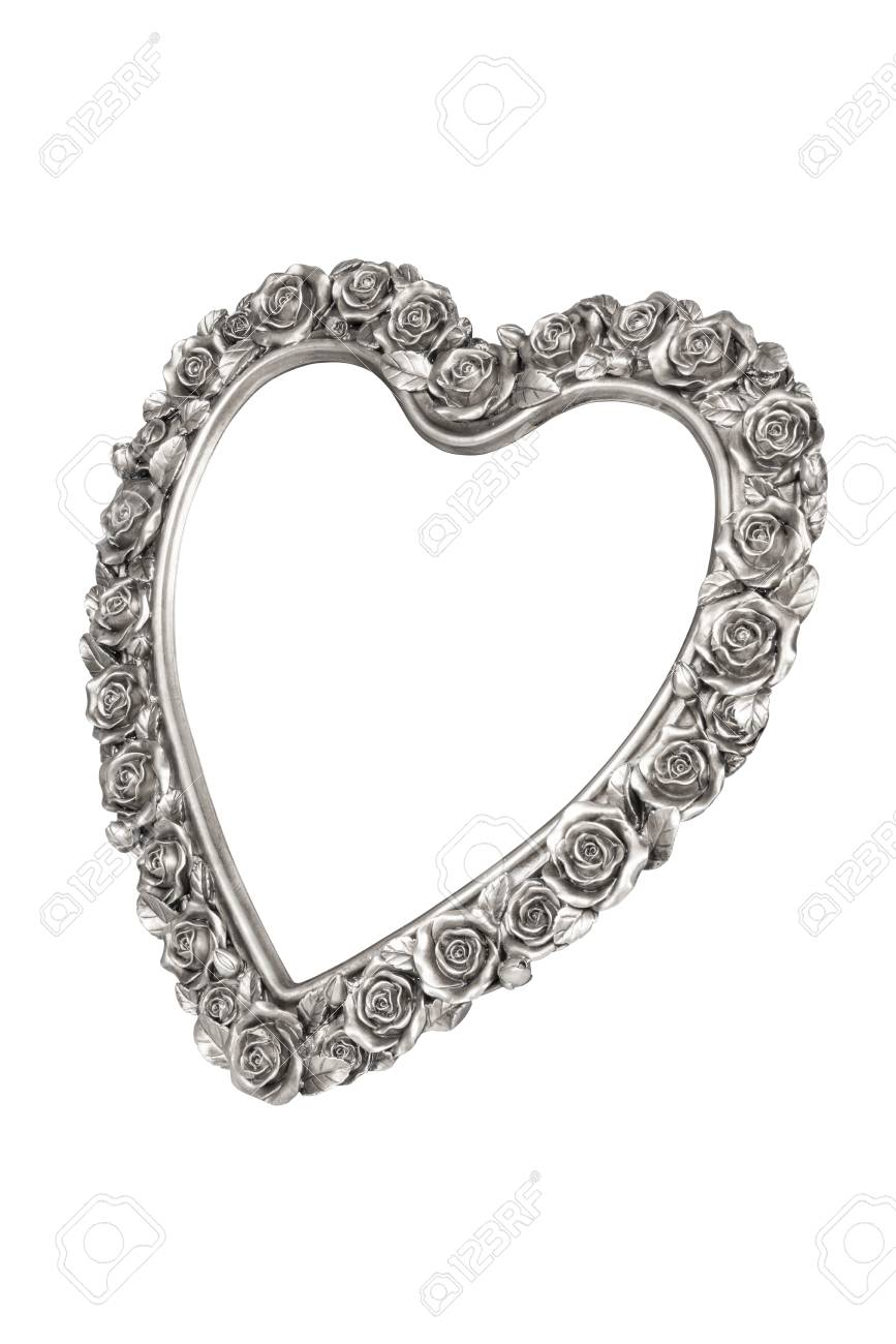 Silver Heart Picture Frame Isolated Stock Photo, Picture And Royalty ...