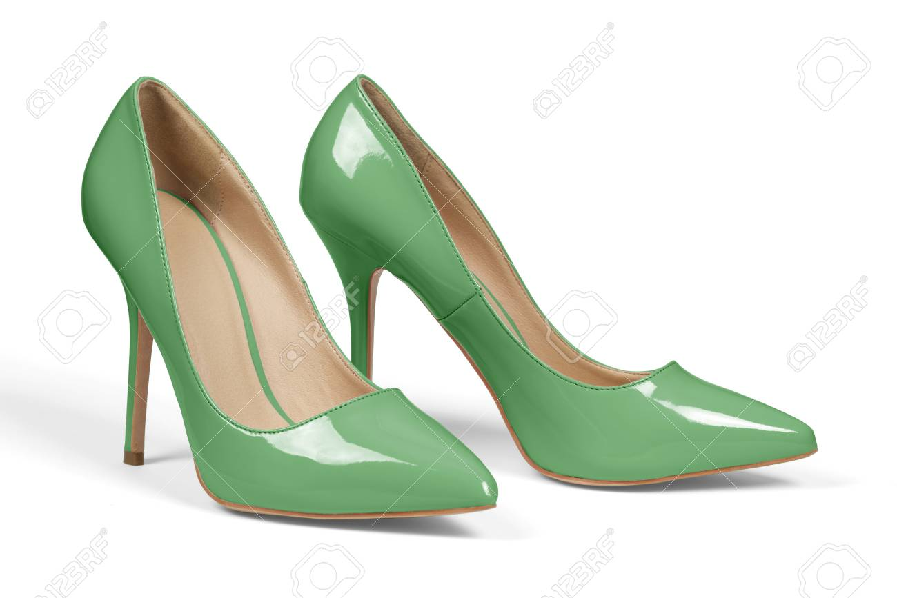 Pair Of Green High Heel Shoes Isolated