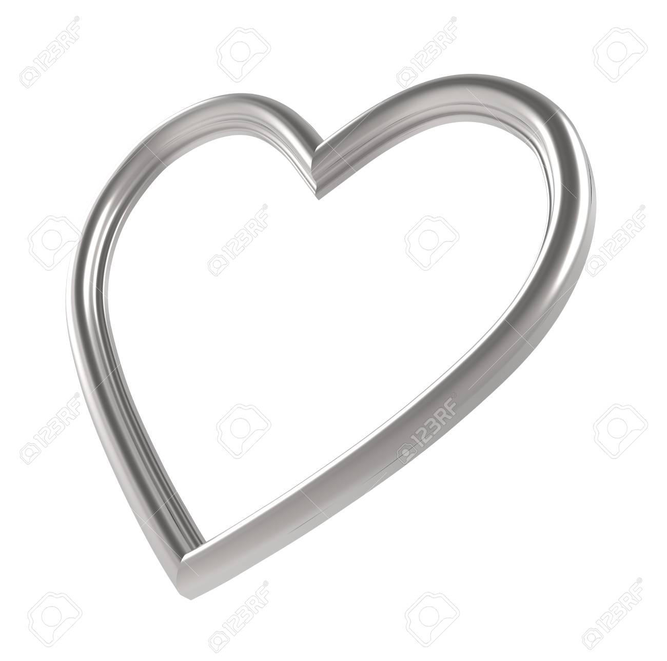 Silber Herz Bilderrahmen Isoliert Auf Weiß. 3D-Darstellung ...
