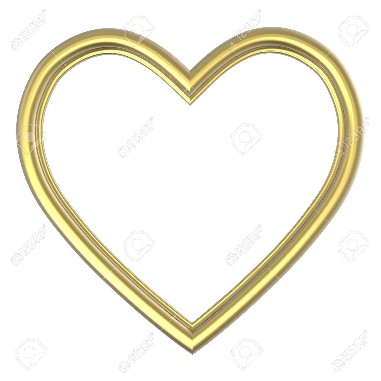 Goldenes Herz Bilderrahmen Isoliert Auf Weiß. 3D-Darstellung ...