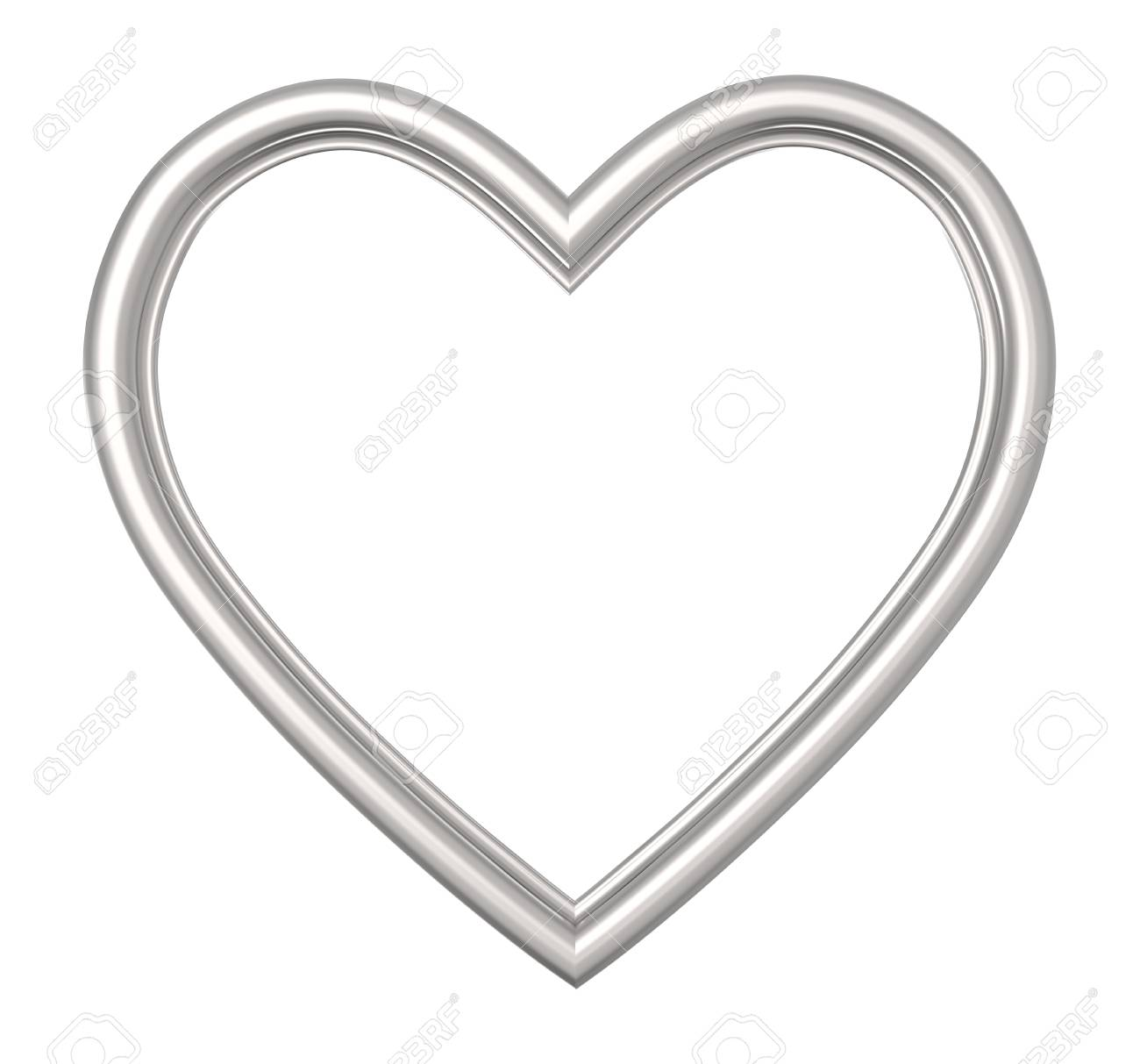 Silver Heart Picture Frame Isolated On White. 3D Illustration. Stock ...