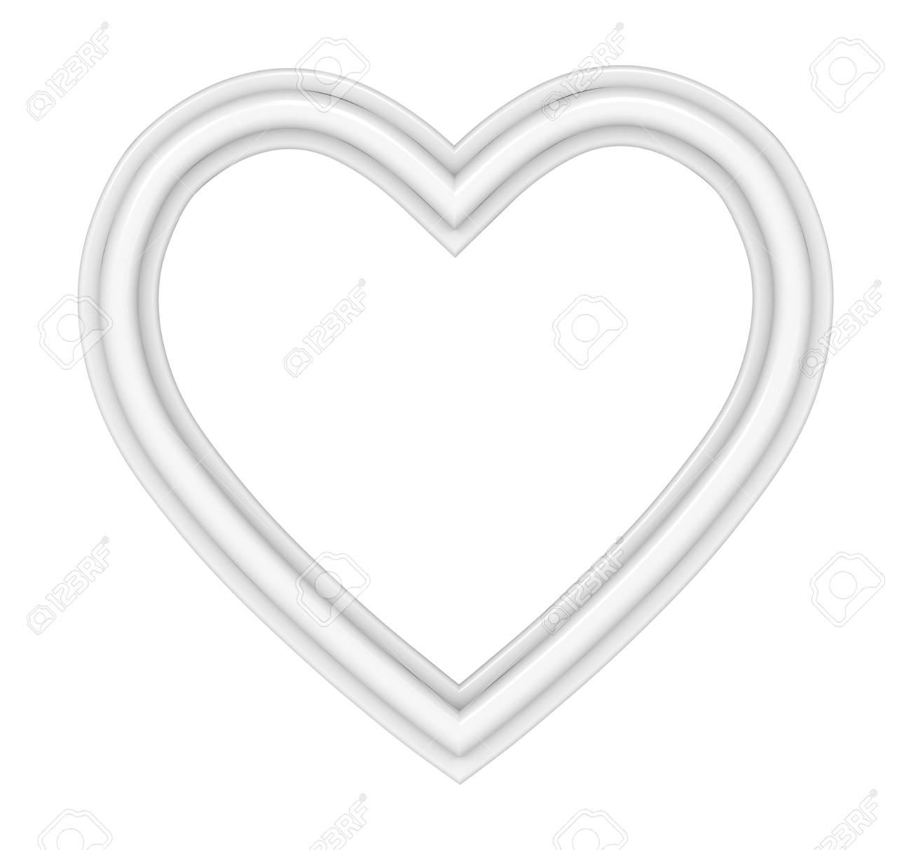 Weißes Herz Bilderrahmen Isoliert Auf Weiß. 3D-Darstellung ...