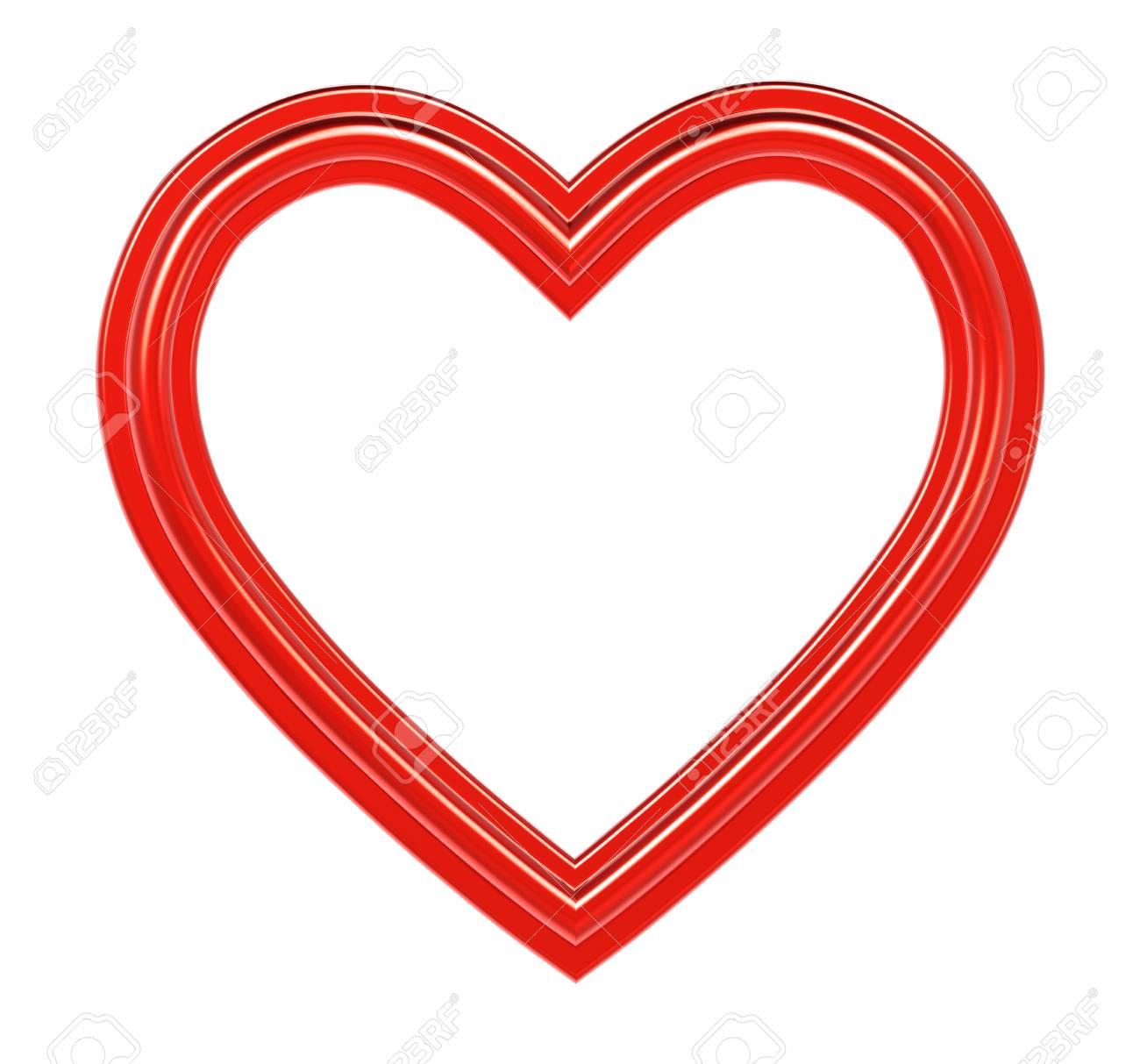 Rotes Herz-Bilderrahmen Isoliert Auf Weiß. 3D-Darstellung ...