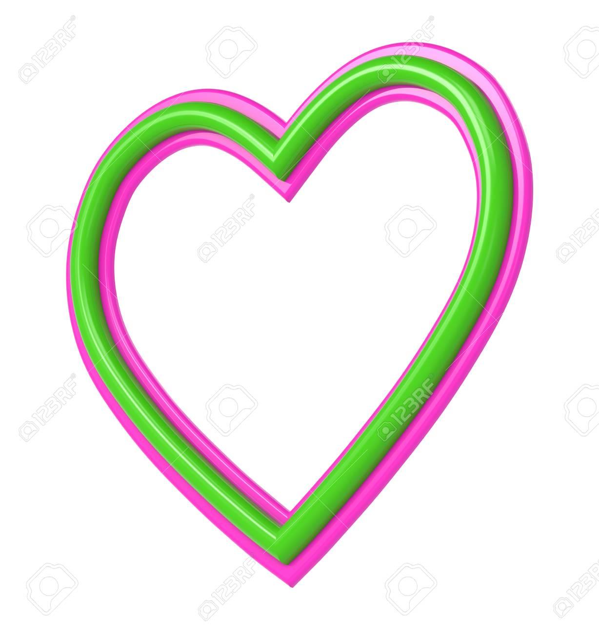Marco Verde-rosa Cuadro Del Corazón De Plástico Aislado En Blanco ...