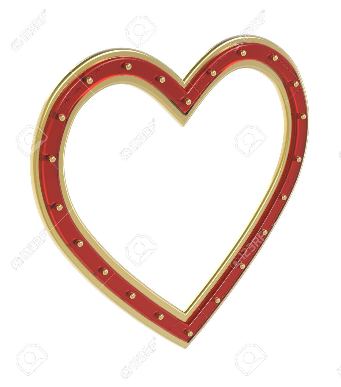 Golden-ruby Heart Picture Frame Isolated On White. 3D Illustration ...