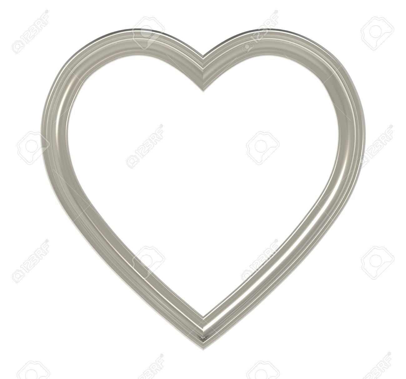 Titanium Herz Bilderrahmen Isoliert Auf Weiß. 3D-Darstellung ...