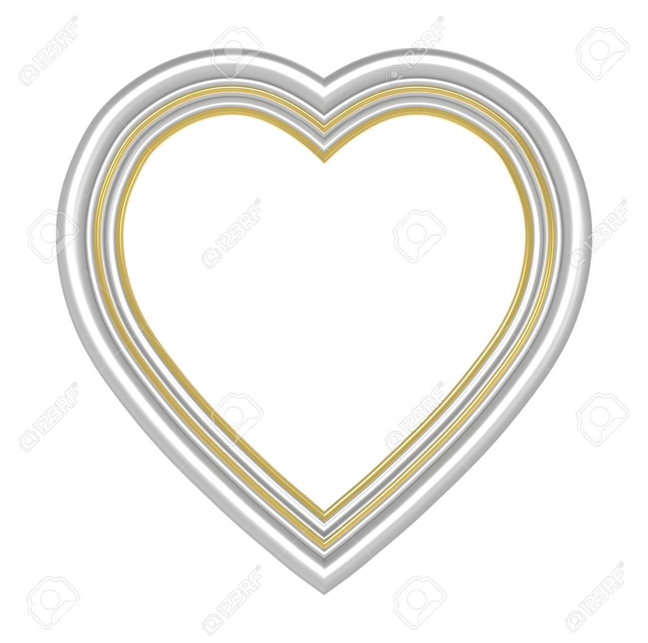 Silber Gold Herz Bilderrahmen Isoliert Auf Weiß. 3D-Darstellung ...