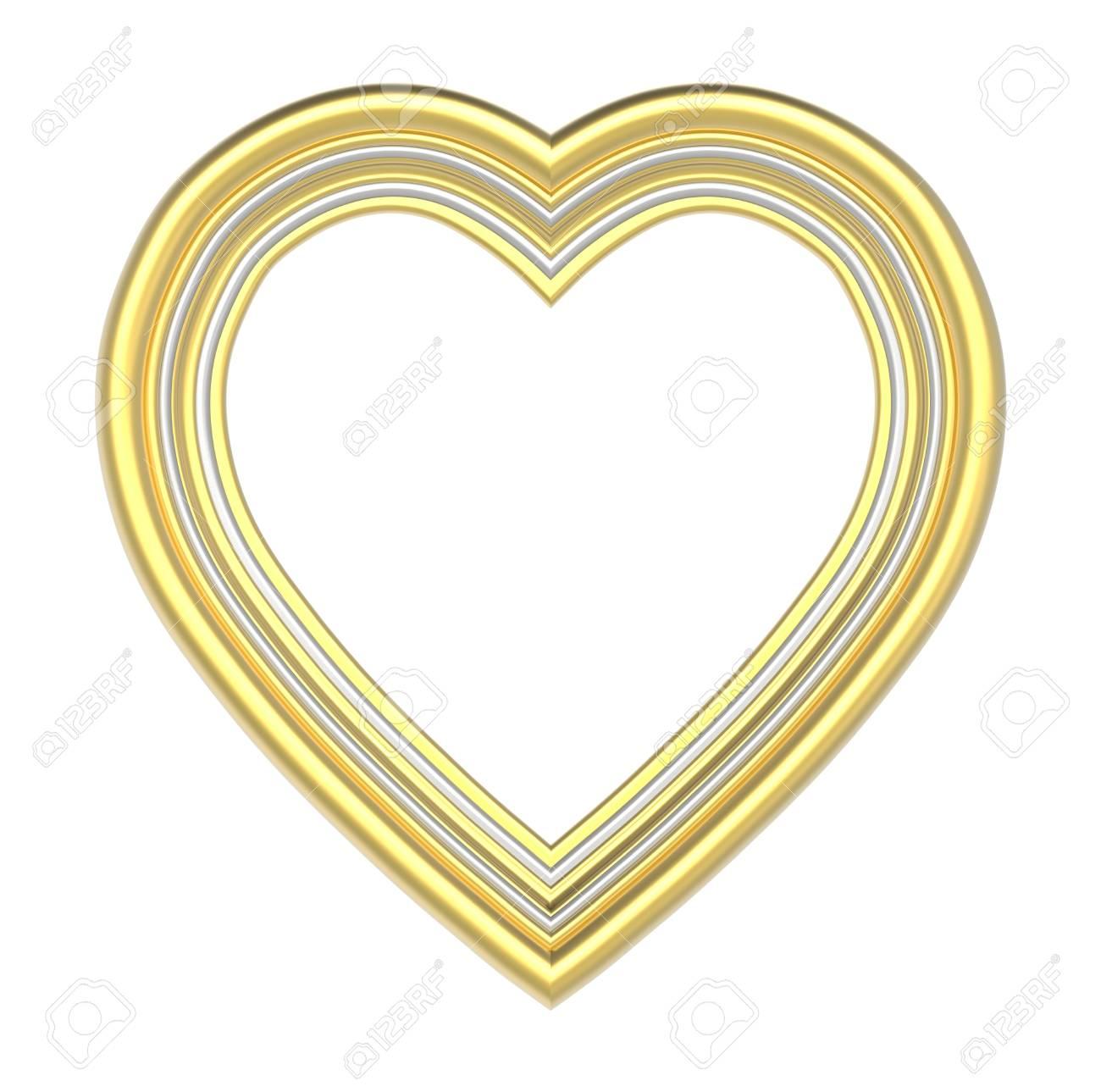 Gold Silber Herz Bilderrahmen Isoliert Auf Weiß. 3D-Darstellung ...