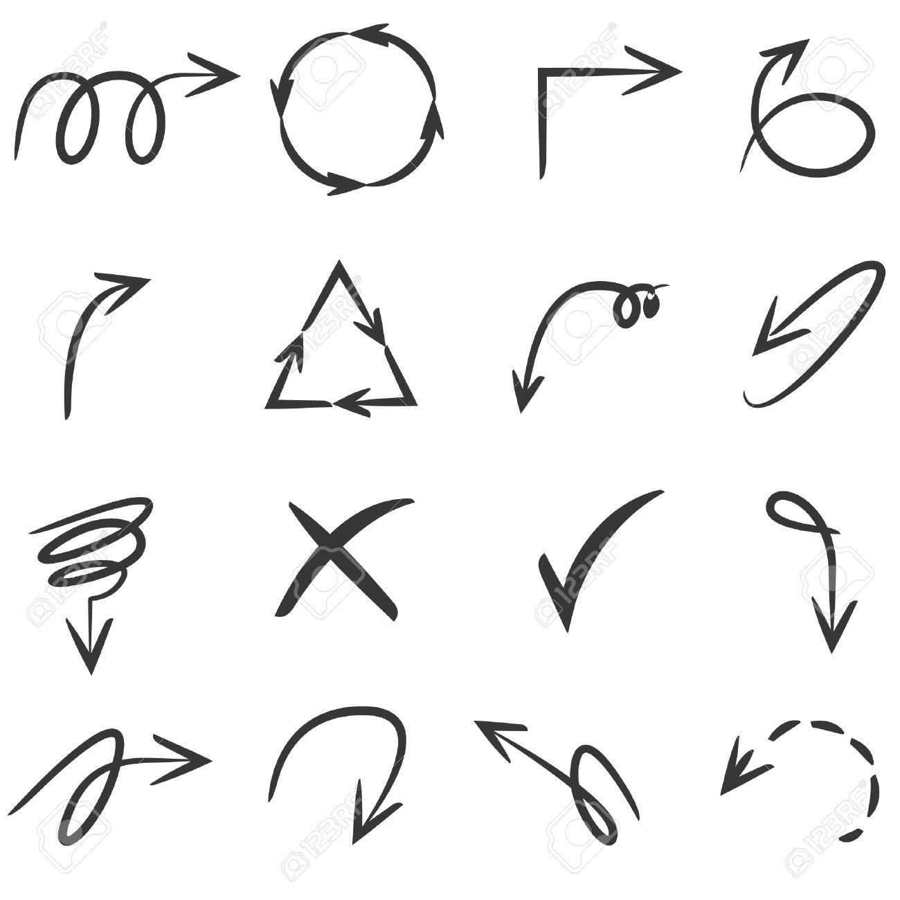 Dessin De Fleche flèches dessin, ligne sketch ensemble de la flèche clip art libres