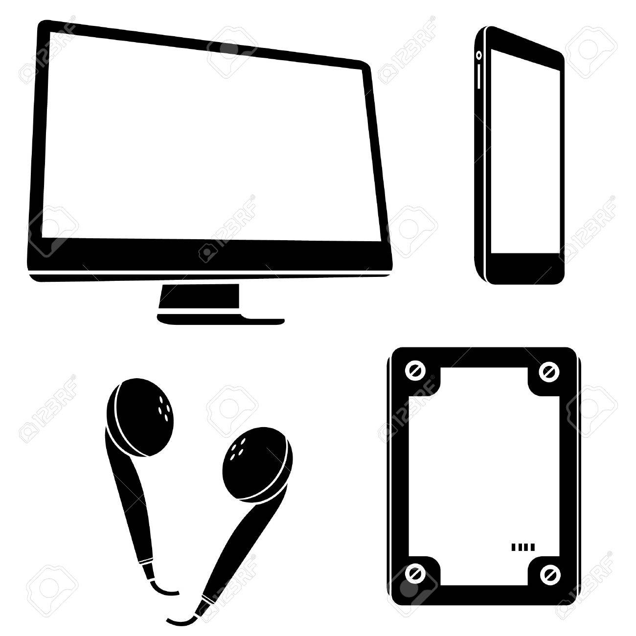 computer, smart phone, icons Stock Vector - 20959663