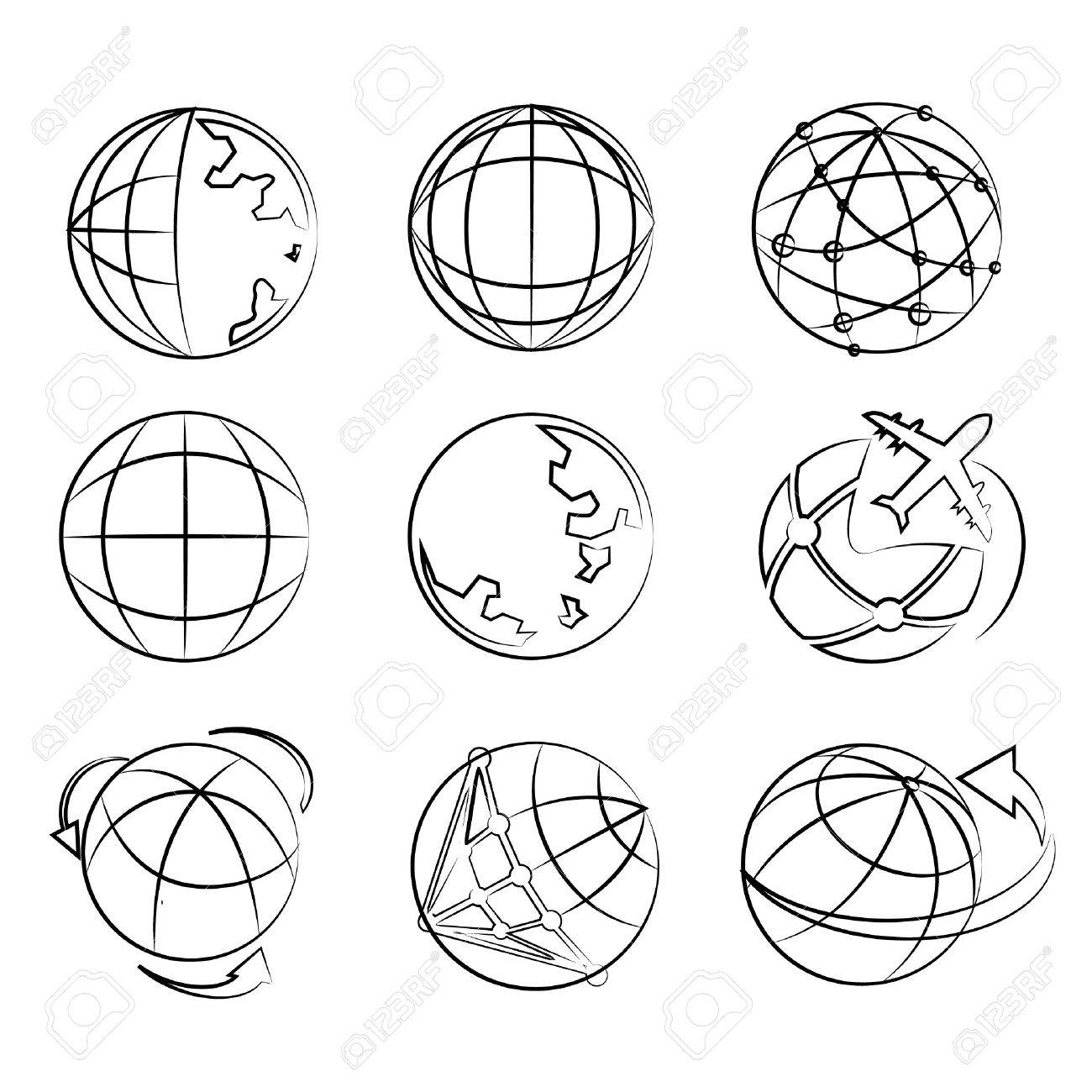 Globe drawing line set world map sketch line royalty free cliparts globe drawing line set world map sketch line stock vector 20959684 gumiabroncs Choice Image