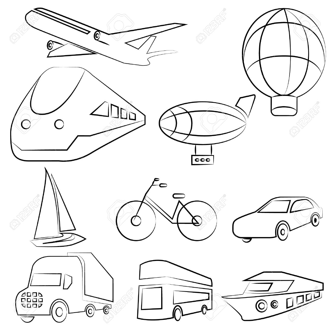 Transportation Drawing Line Set Royalty Free Cliparts Vectors