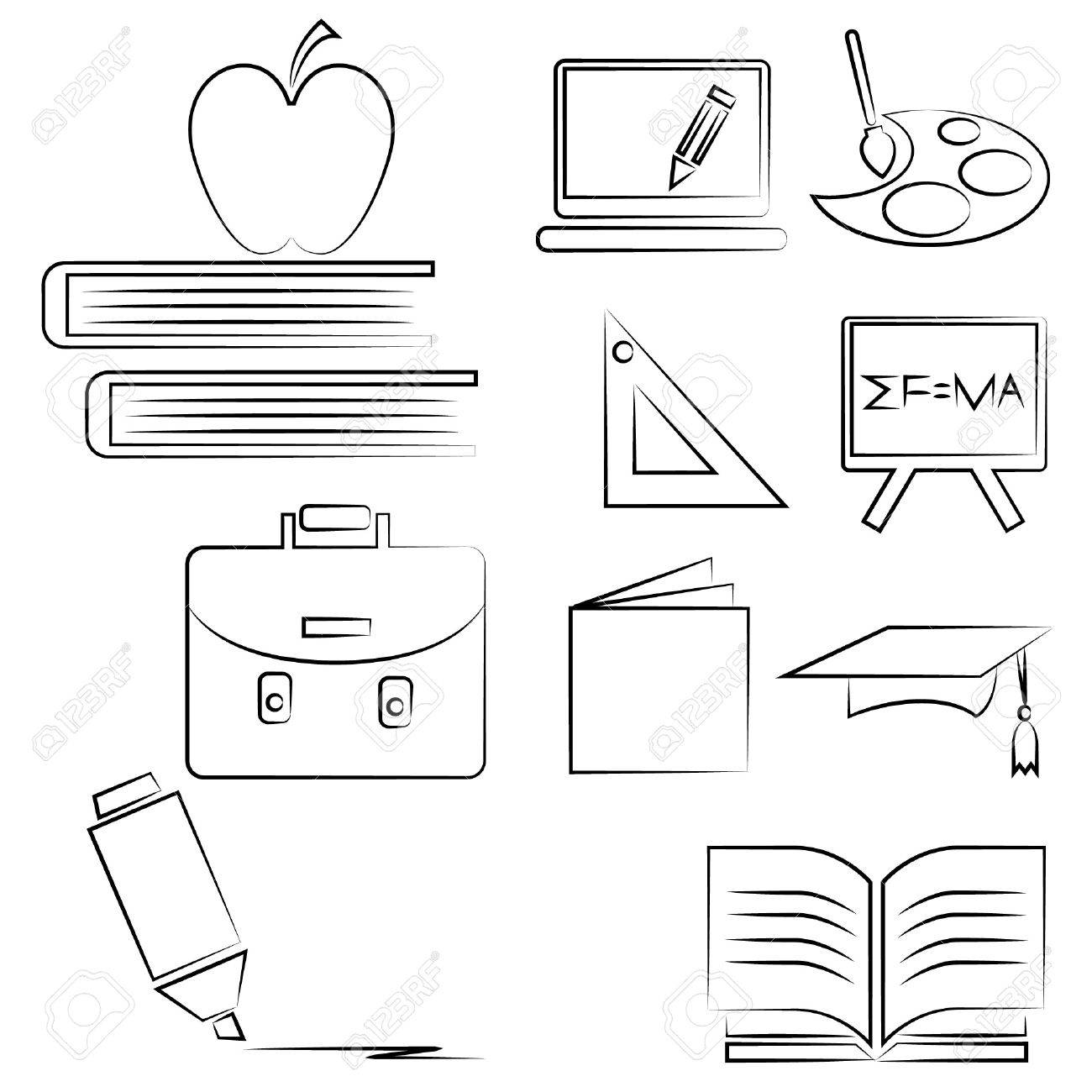 school drawing line set pencil line set royalty free cliparts School Bus Engine Diagram school drawing line set pencil line set stock vector 20959687