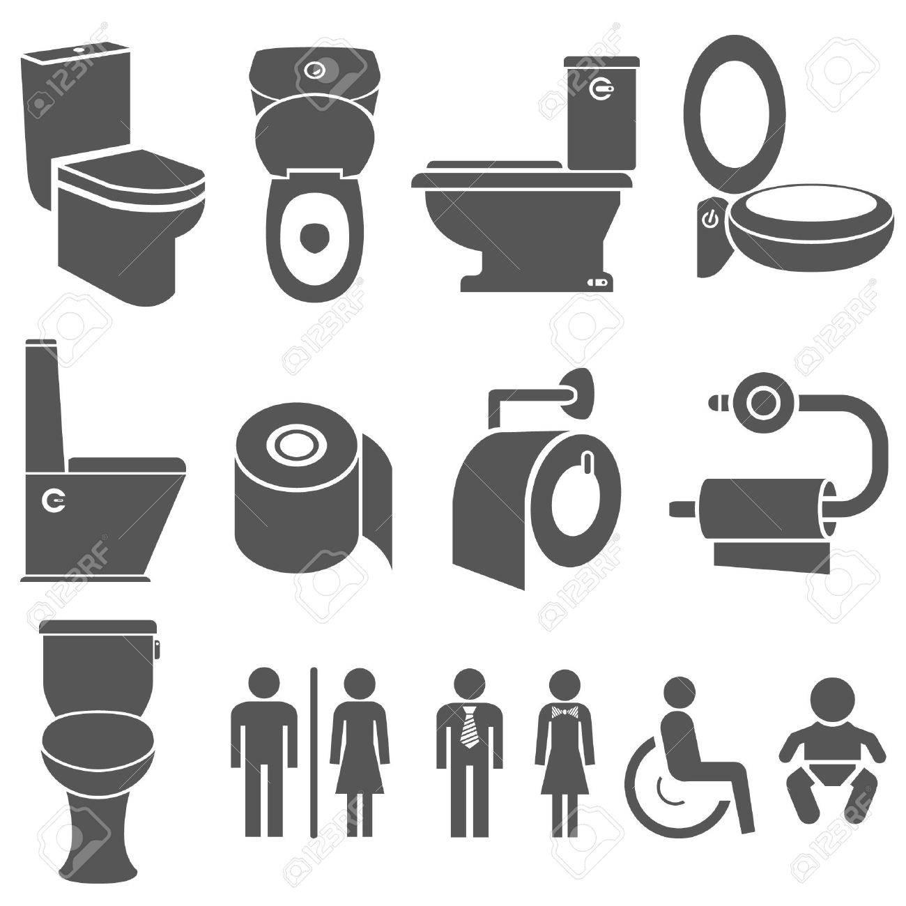 vector toilet and wc symbol set - Bathroom Symbol