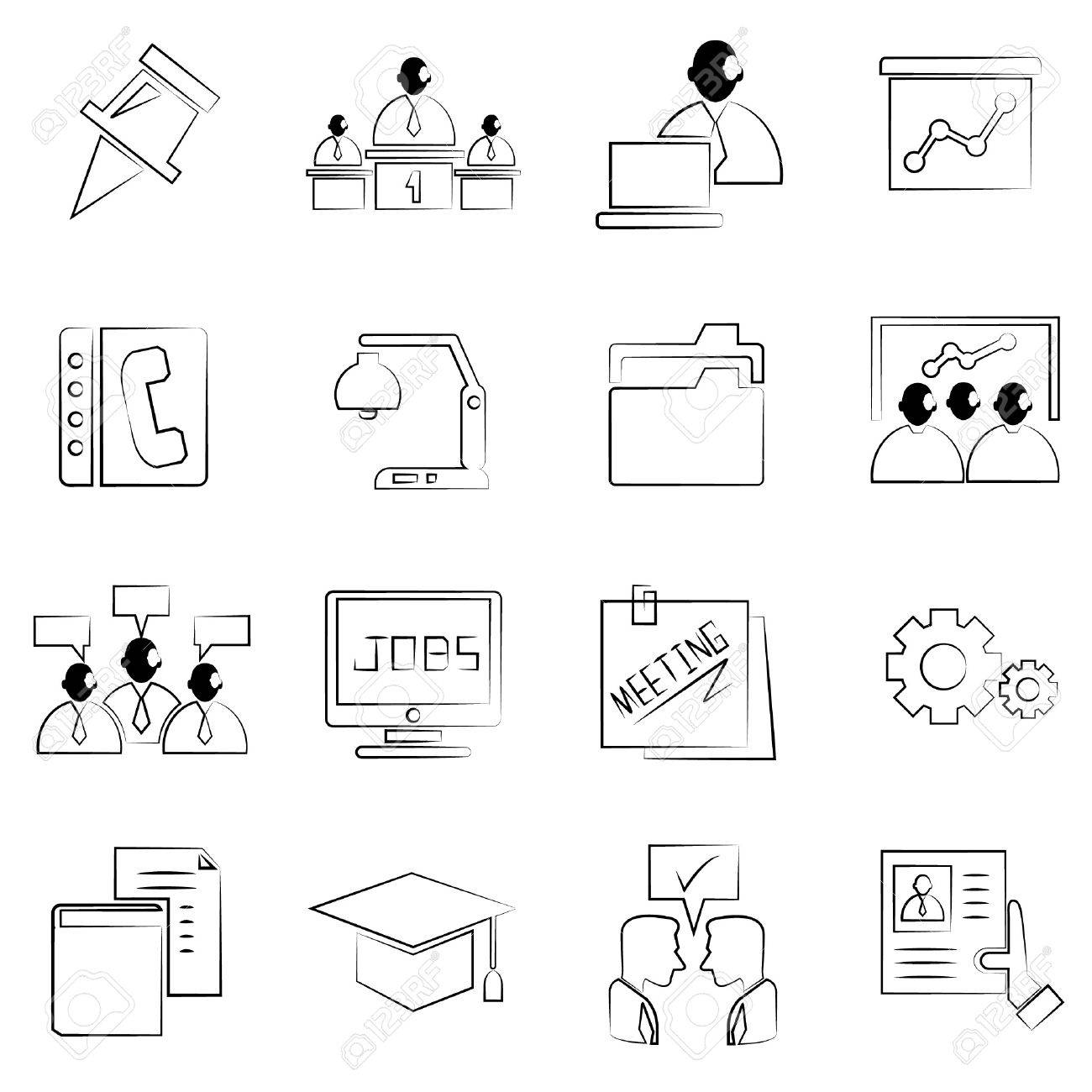 Jobs human resource and business concept icons set drawing line pencil line style