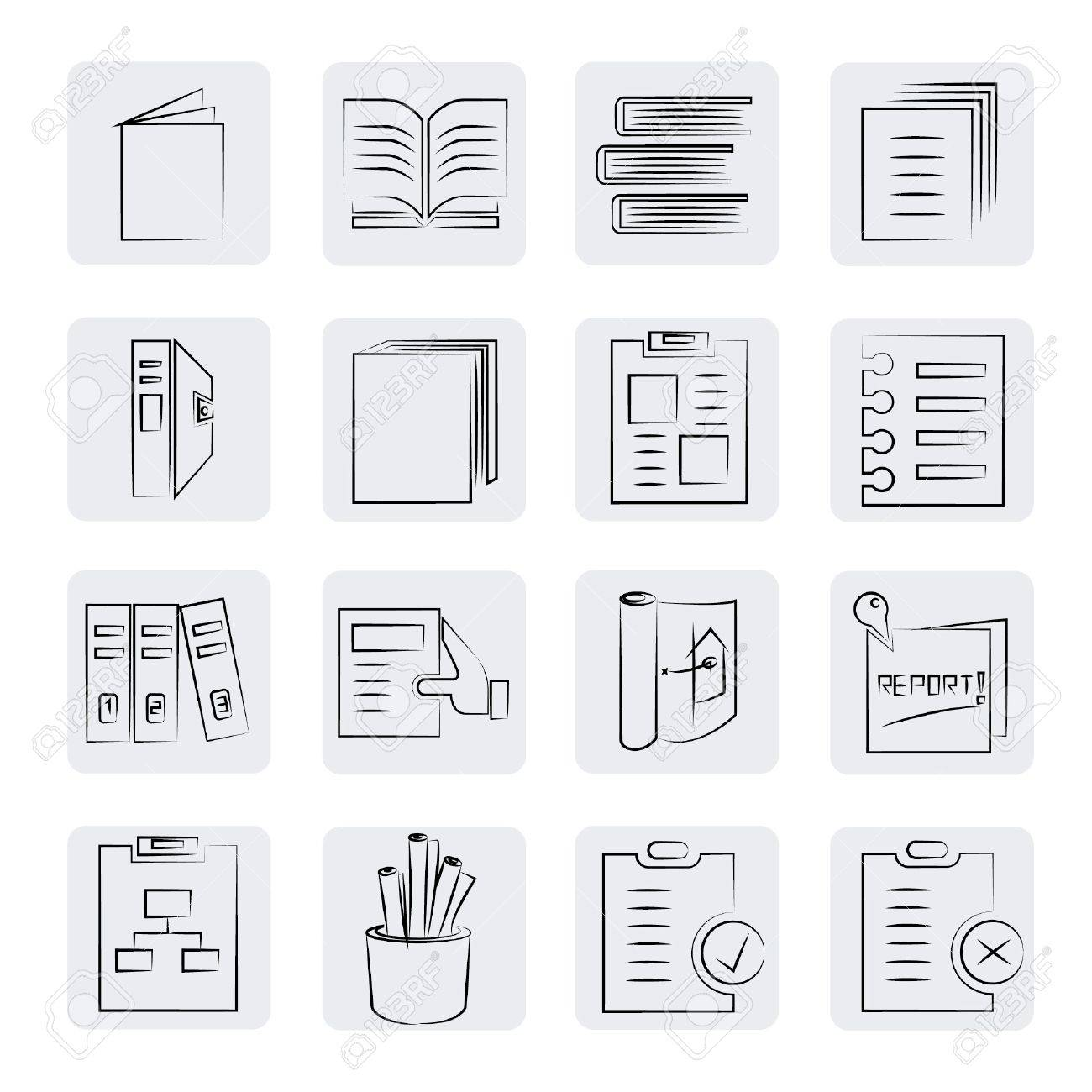 office and documents buttons set, sketch style Stock Vector - 21506540