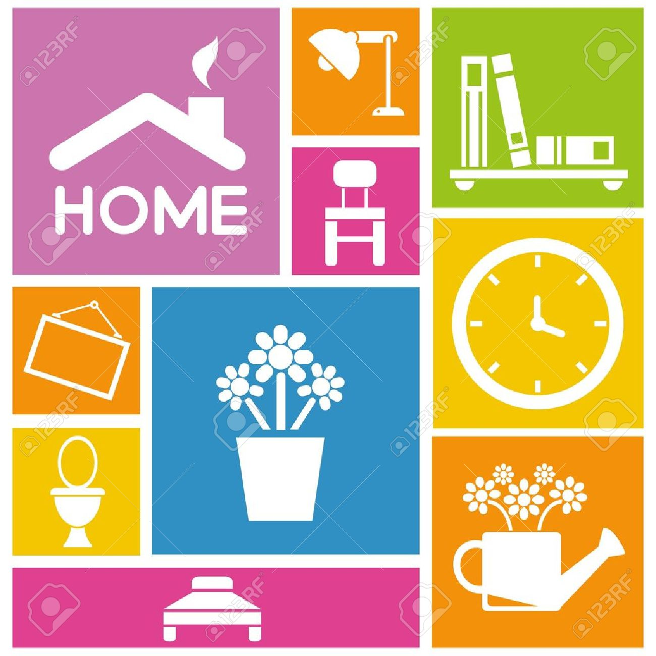 Interior Design And Home Design Icons Colorful Background