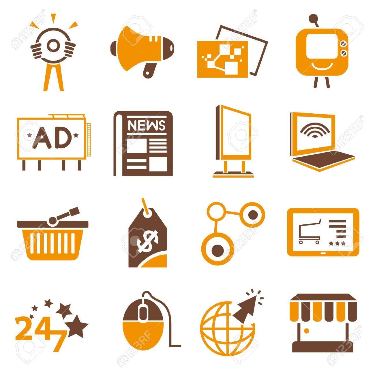 Online, Internet Marketing Icons, Orange Theme Royalty Free ...