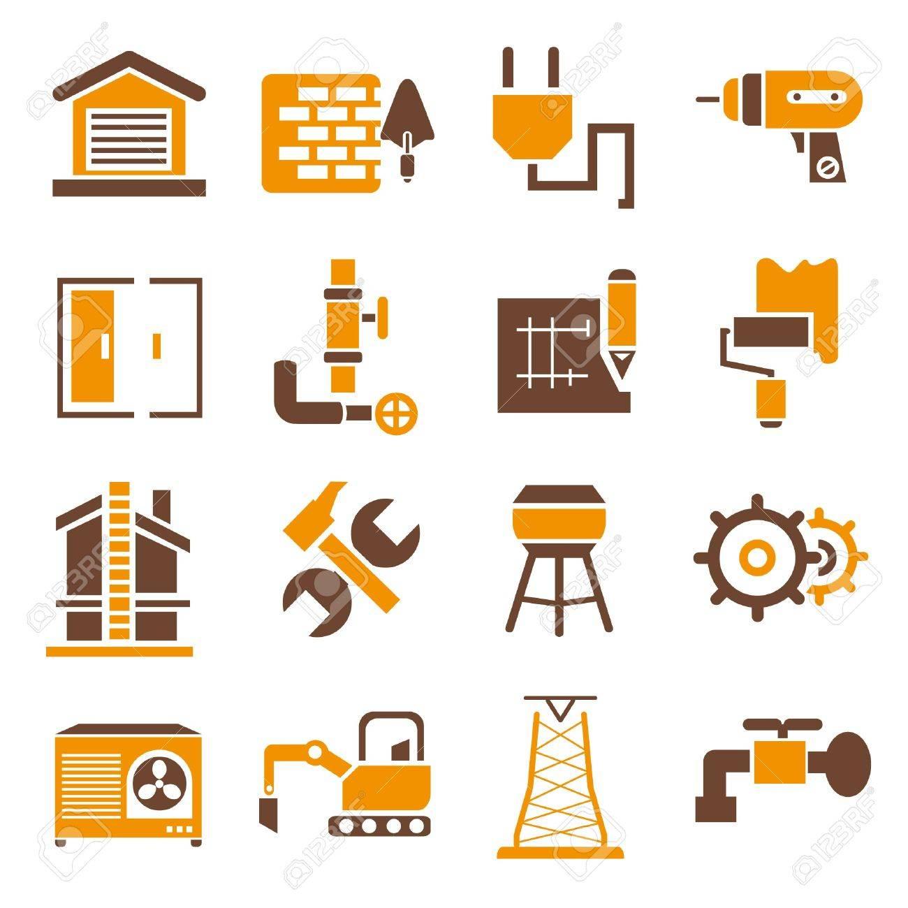construction icons, icons set, orange theme Stock Vector - 21506619