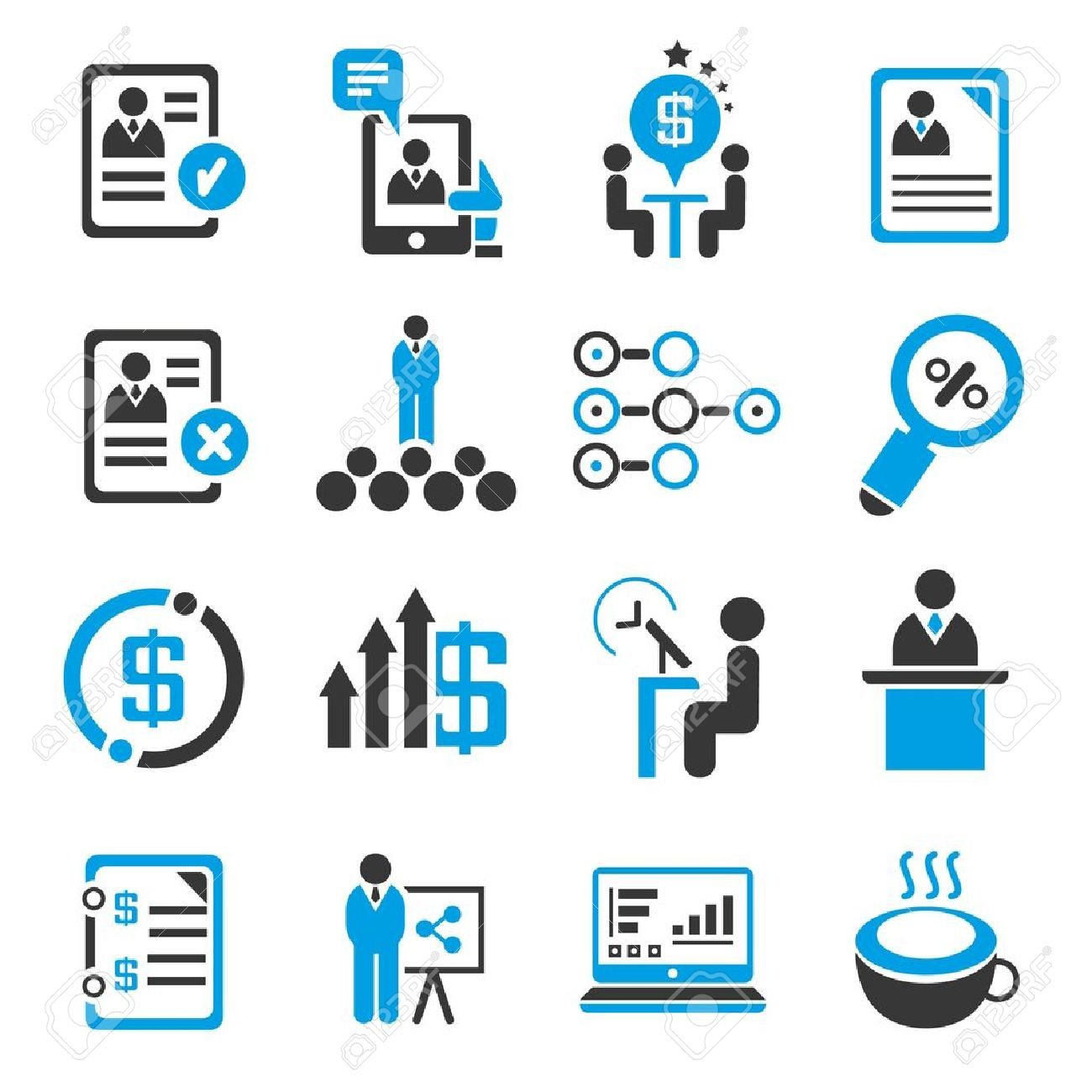 business management concept set,  administration, blue icons Stock Vector - 21506627
