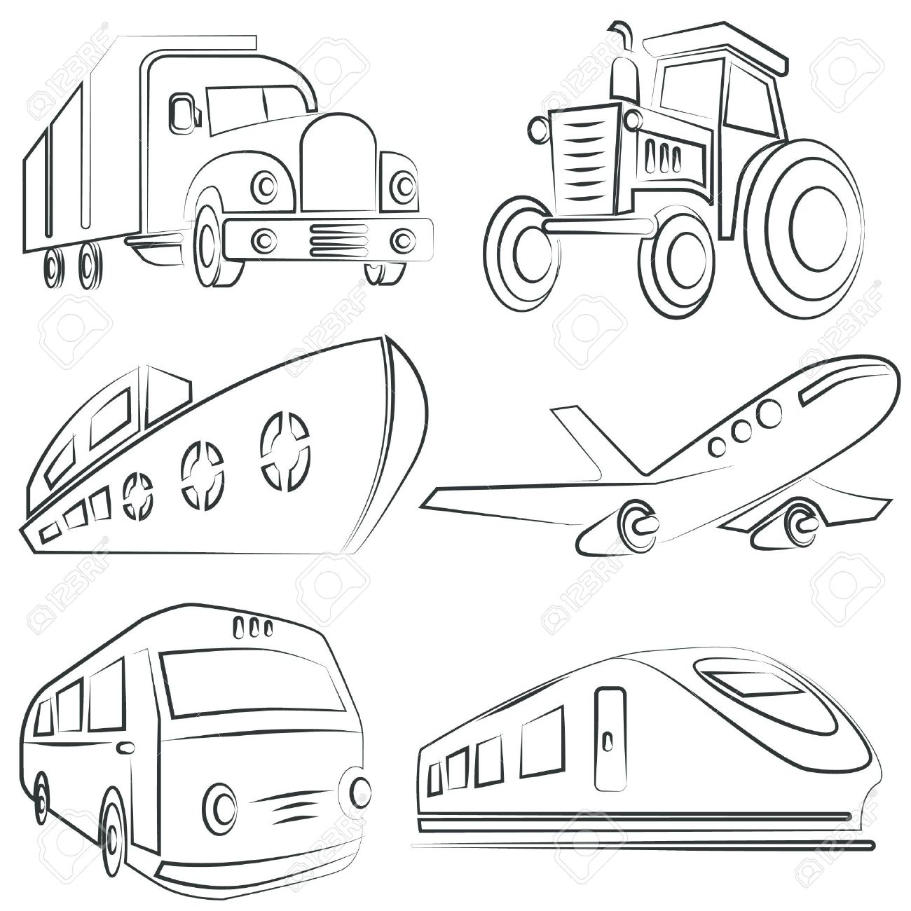Sketched Car Truck Set Transportation Royalty Free Cliparts