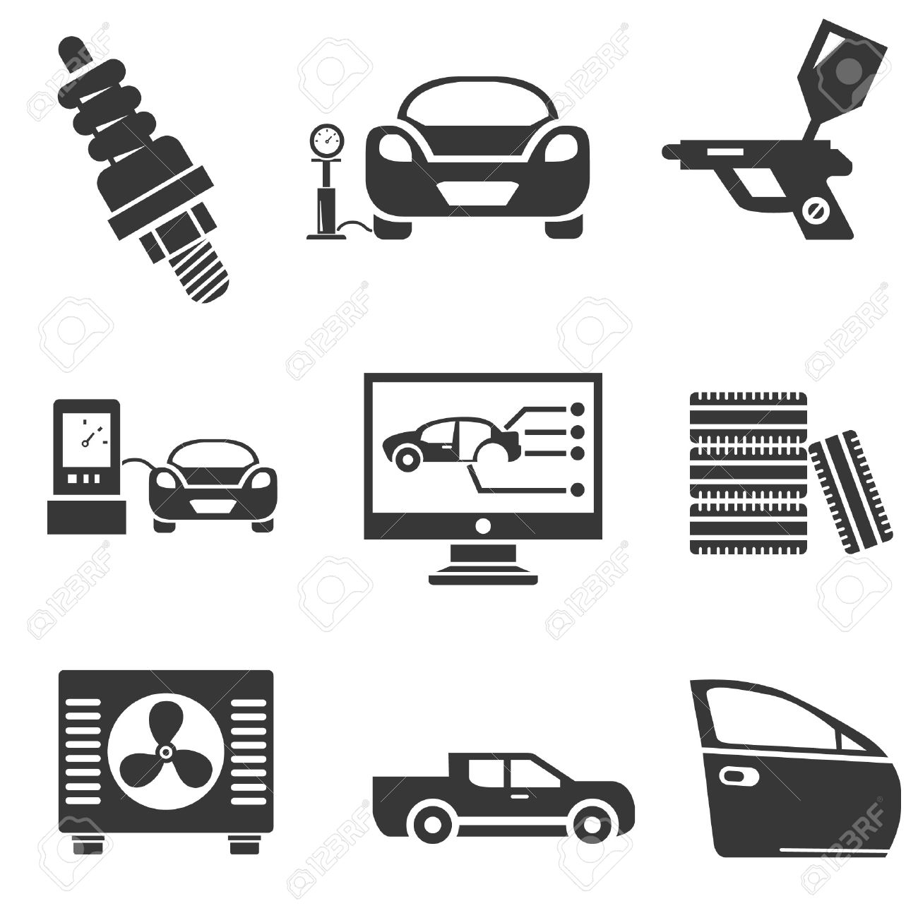 Automotive Icons, Car Parts And Garage Icons Royalty Free Cliparts ...