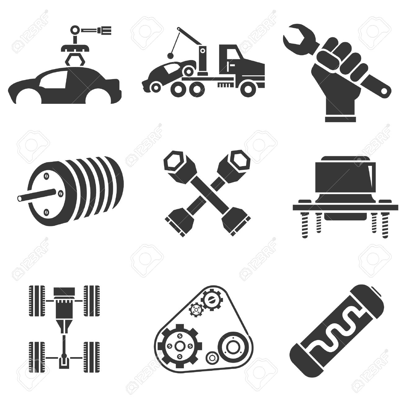 automotive icons car parts and garage icons royalty free cliparts