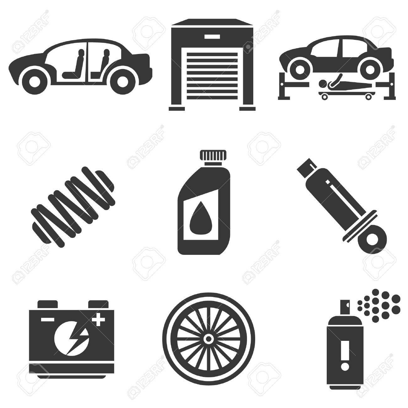 自動車用アイコン、車の部品およびガレージのアイコン ロイヤリティ