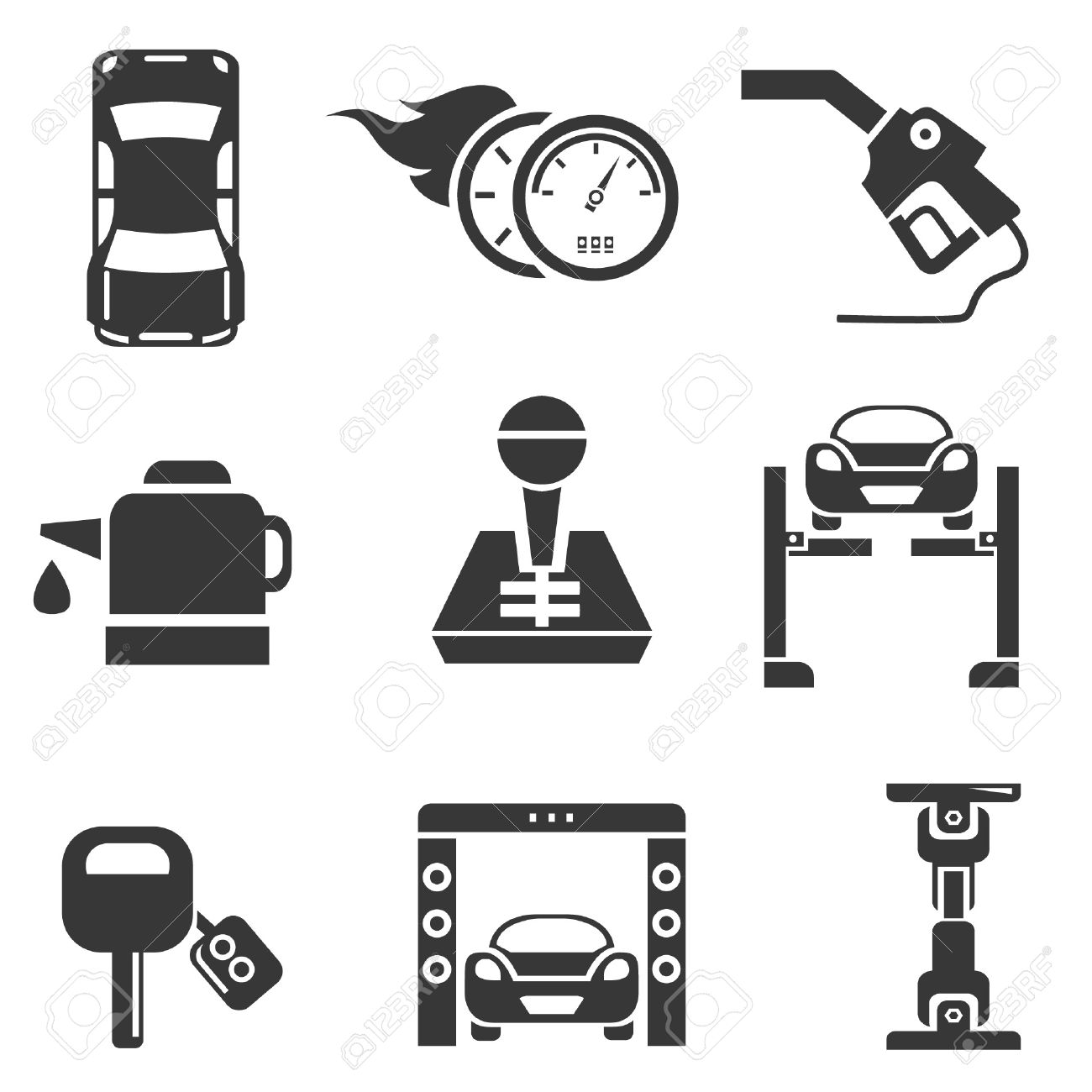 automotive icons, car parts and garage icons Stock Vector - 21909350