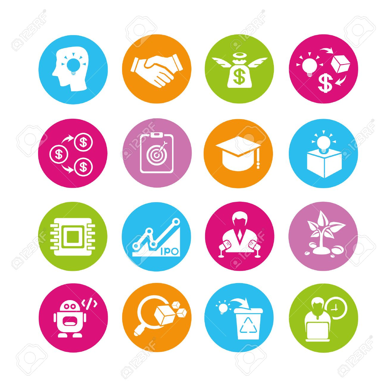 startup and entrepreneur icons set, buttons - 22321887