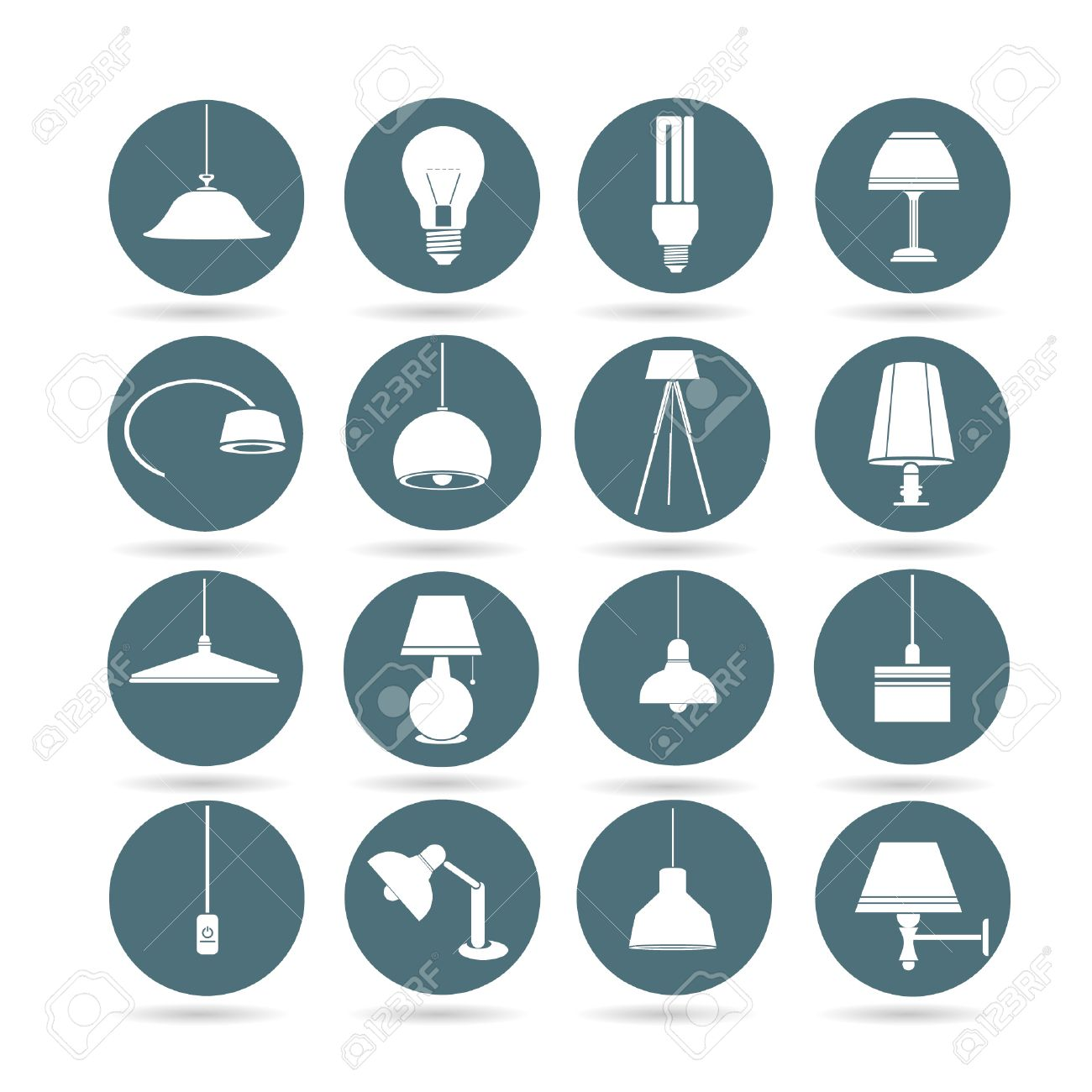 Lamp Icons Interior Design Buttons App Set Stock Vector