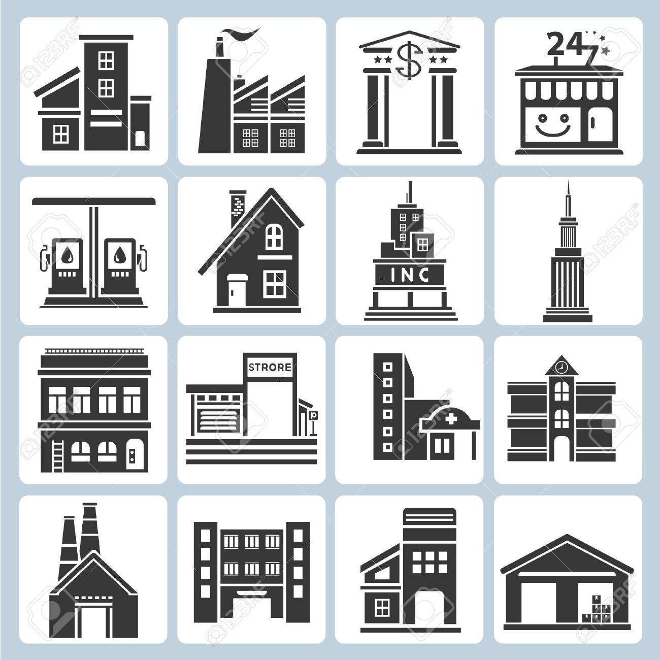 building icons Stock Vector - 23229134