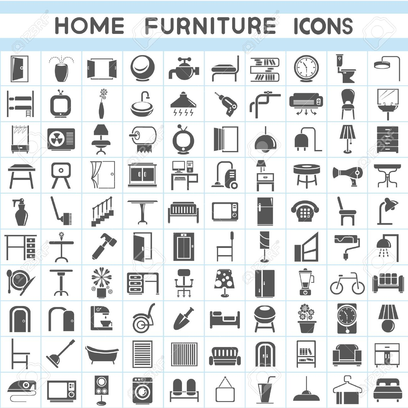 Furniture Icons Set Interior Design Collections Stock Vector