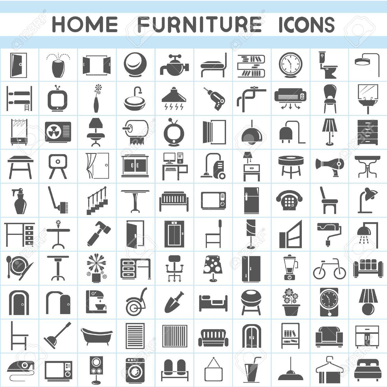 furniture icons set, interior design collections - 23354009