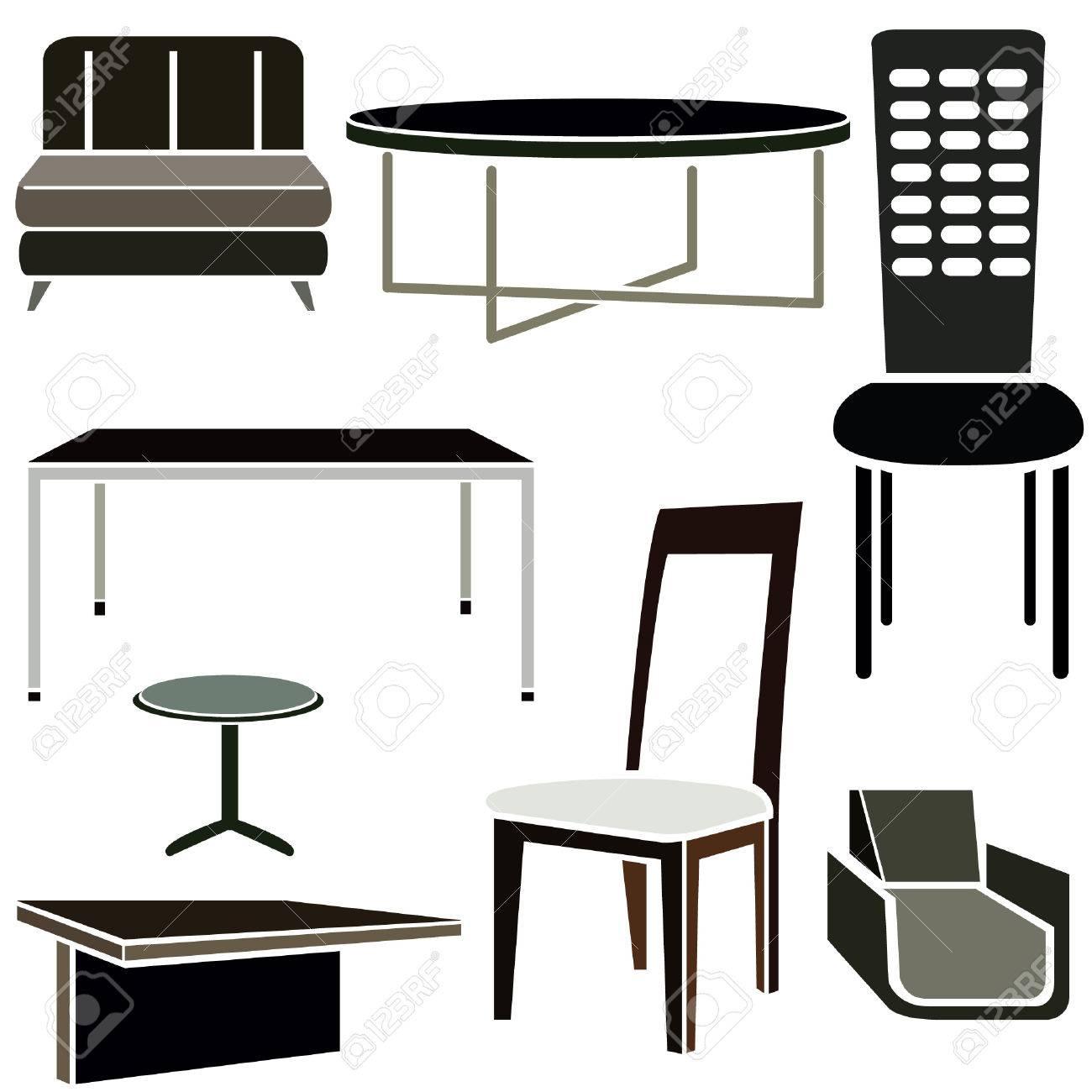 Iconos Del Diseo De Interiores Juego De Muebles Ilustraciones
