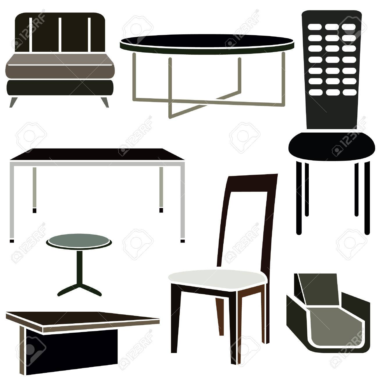 Interior Design Icons Furniture Set Stock Vector