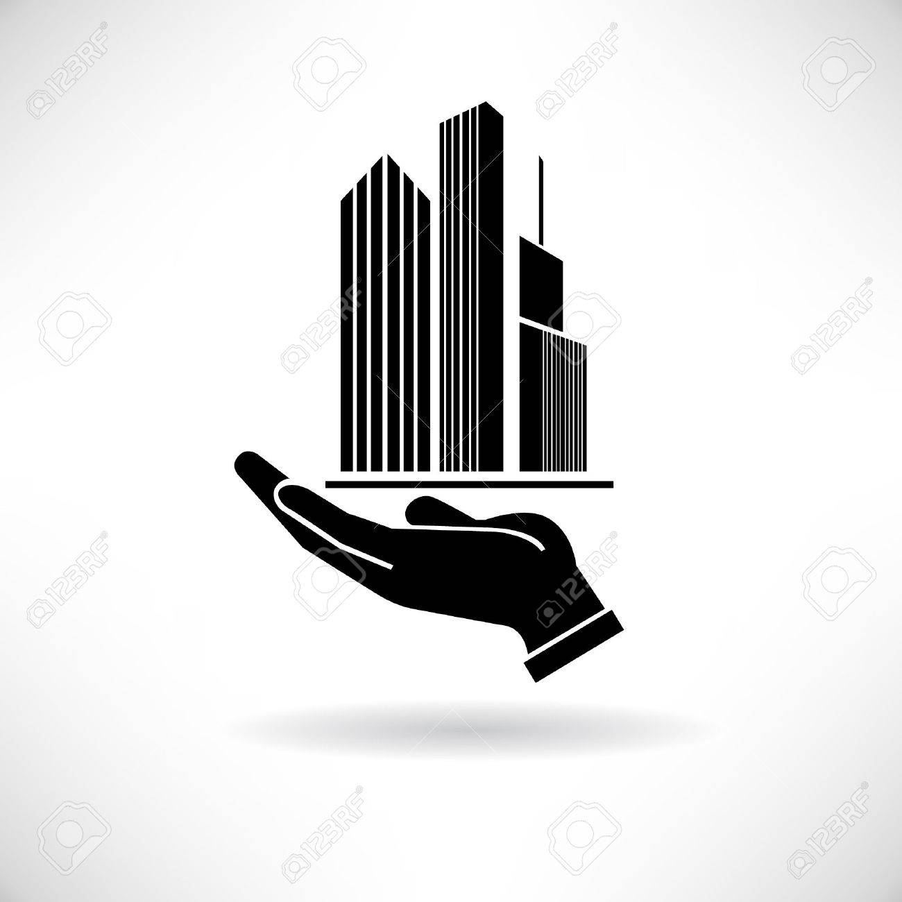 real estate concept symbol, hand holding building, tower Stock Vector - 24468376