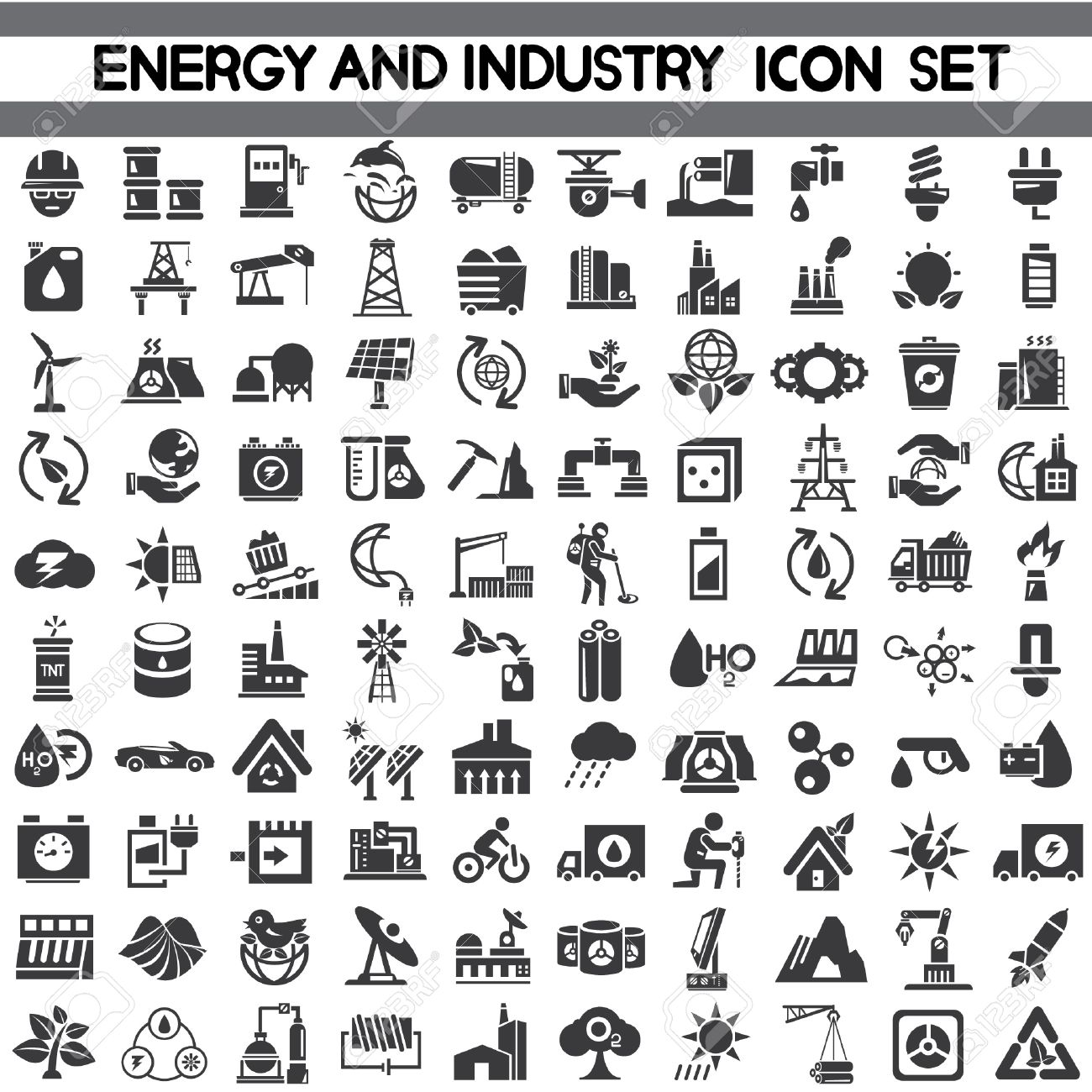 energy icons, industry icons, go green icons, save energy icons, vector Stock Vector - 24427324